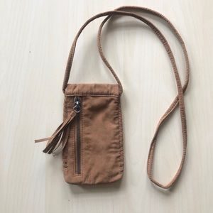 AE Sunglasses Case Fringe Brown Faux Suede